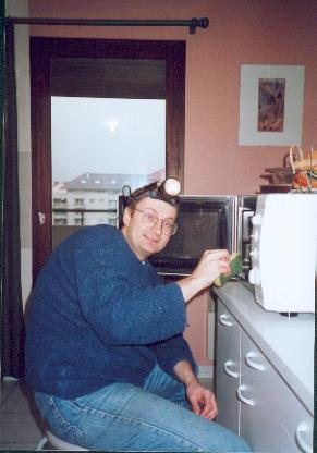 Silly picture of me cleaning the microwave
